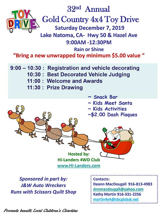 Gold Country 4x4 Toy Drive will be December 7, 2019 in Lake Natoma, CA