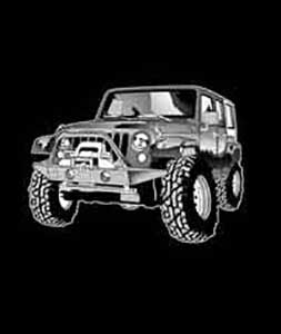 Youth Vehicle T-Shirt - Jeep JK 4-Door - Black - Large