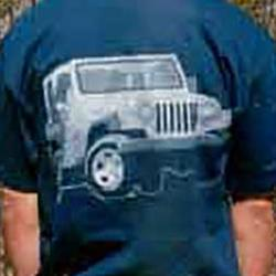 Vehicle T-Shirt - Jeep Flat Fender - Blue - Large